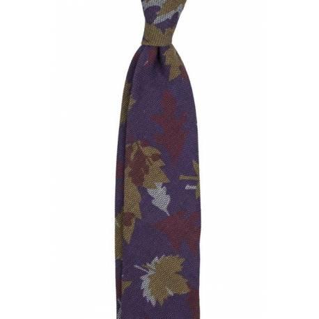 Krawat z wełny o splocie garza liście fiolet